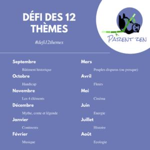 Read more about the article Le super défi des 12 thèmes est lancé!